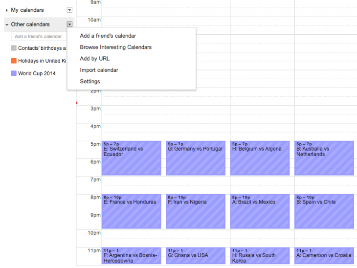 Screen Shot 2014 06 10 at 14.53.47 730x548 How to instantly get the entire World Cup schedule in your Google Calendar