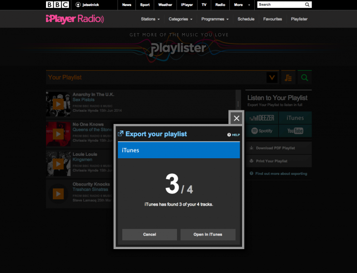 Screen Shot 2014 06 16 at 10.32.54 730x559 The BBCs Playlister save it for later music service now lets you export tracks to iTunes