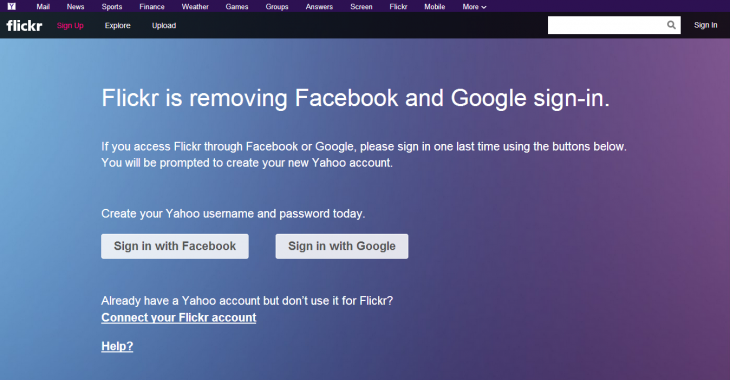 Screenshot 2014 06 06 09.42.52 730x380 Yahoo confirms it will remove Facebook and Google sign ins from Flickr after June 30