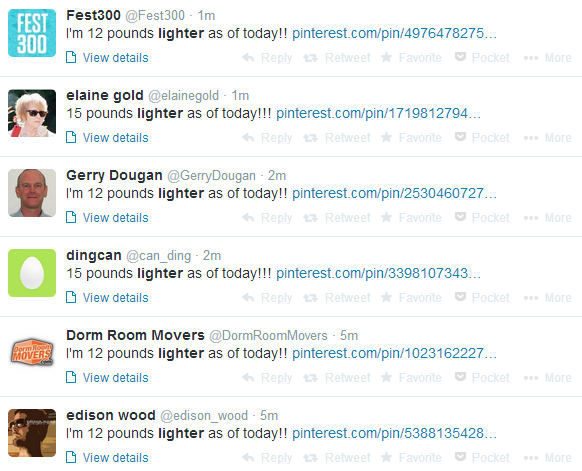 Screenshot 2014 06 16 00.41.04 Large numbers of Pinterest users hacked, as weight loss spam spills onto Twitter