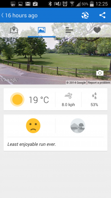 Screenshot 2014 06 11 12 25 02 220x391 Runtastic now invites you to beat your previous times, and shows your runs on Street View too