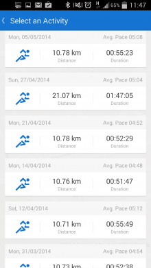 a5 220x391 Runtastic now invites you to beat your previous times, and shows your runs on Street View too