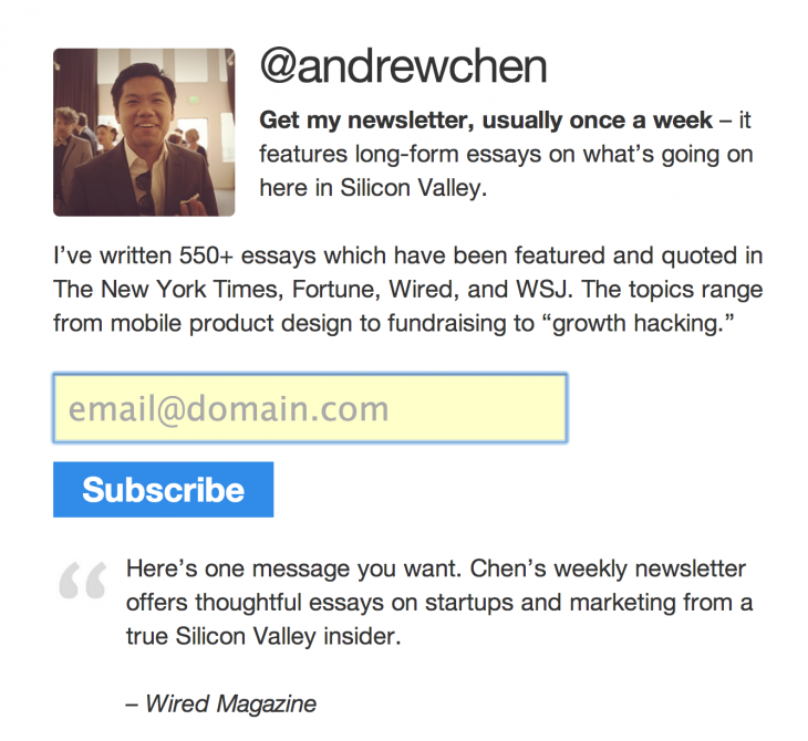 andrew chen 730x670 The experts guide on how to grow a massive email list