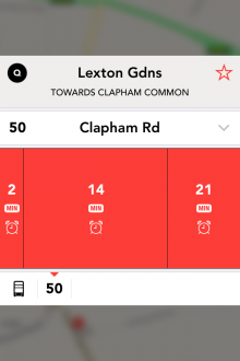 b9 220x330 Jump for iPhone is a slick, real time bus tracker for London dwellers