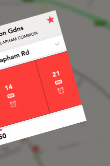 e2 220x330 Jump for iPhone is a slick, real time bus tracker for London dwellers