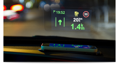 headup display Be a smart driver: Use Sygic GPS Navigation, the world's most installed offline navigation for iOS and Android