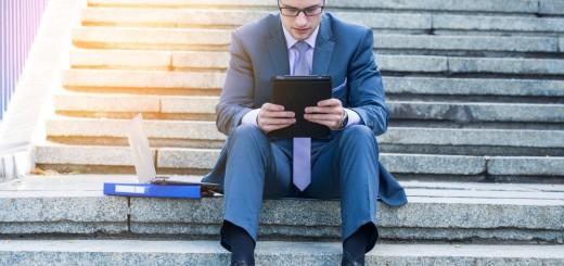 man tablet work