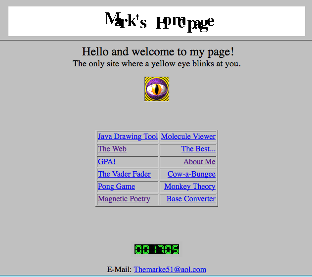 mark zuckerberg first website What the Internet looked like before Drupal, Wordpress and Joomla