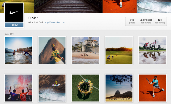 nike instagram page 730x443 The minimalists guide to boosting brands Instagram engagement