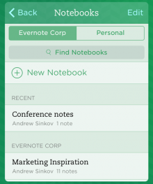 notebooks 220x263 Evernote updates Notebook and Business Card features for iOS