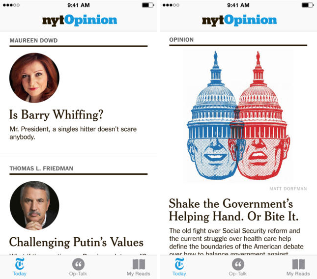 nyt The New York Times launches NYT Opinion digital subscription and iPhone app for $6 per month
