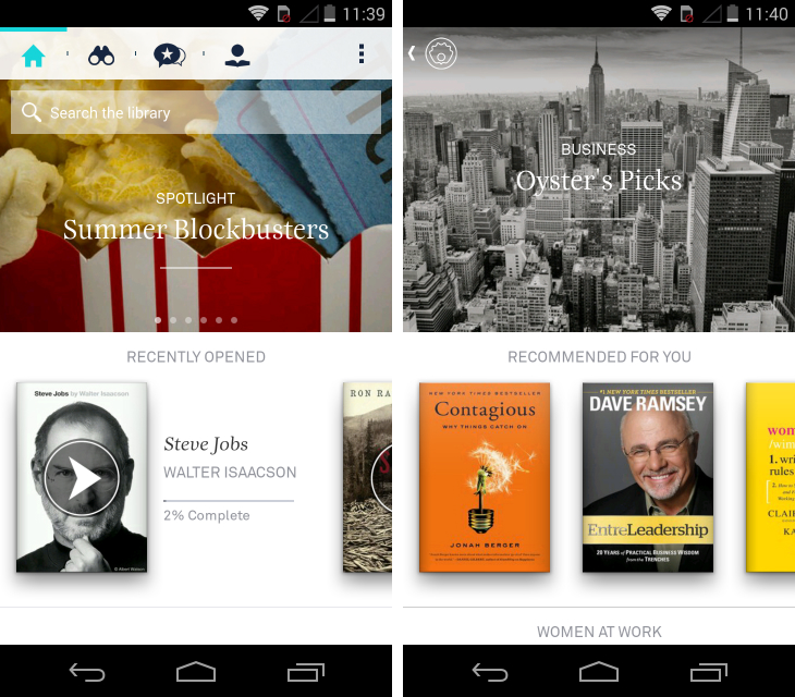 oyster1 Oyster brings its 'Netflix for ebooks' subscription service to Android, Kindle Fire and Nook HD