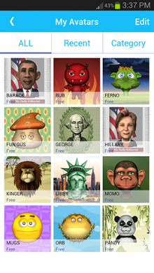 pc image smartphone slideshow myavatars 220x390 Intel releases Pocket Avatars, a chat app that maps your facial expressions onto silly characters