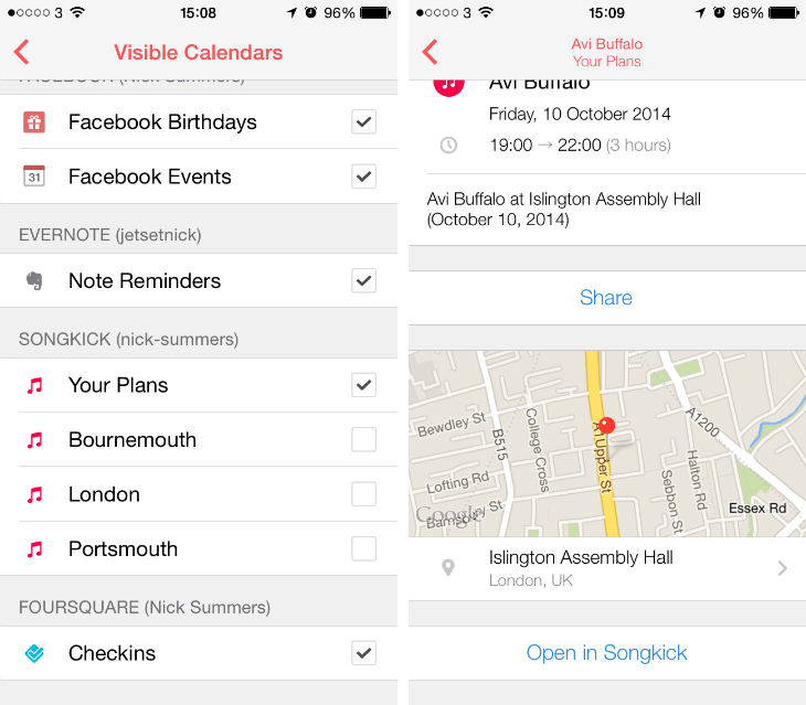 songkick1 Sunrise now brings Evernote, Songkick, TripIt, GitHub and Asana dates into your calendar
