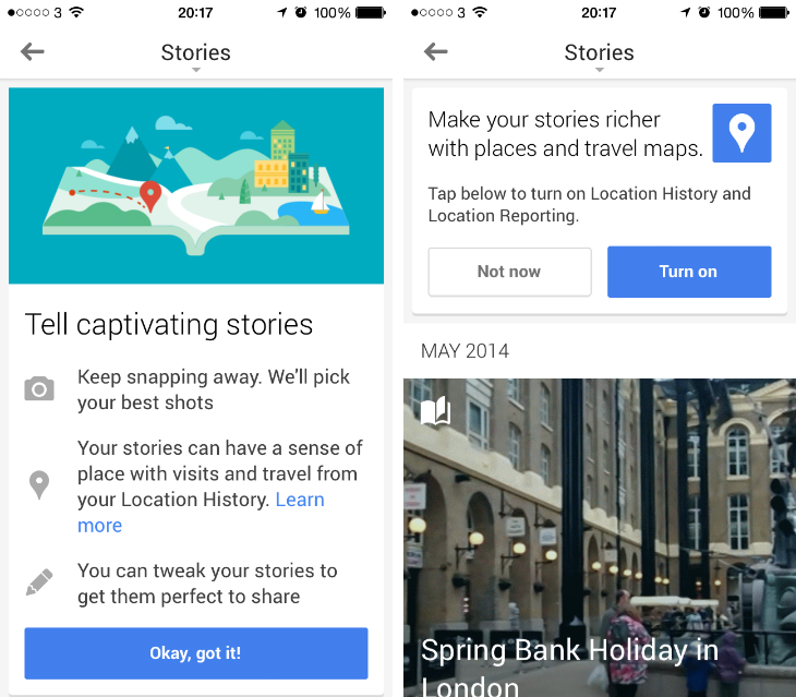stories1 Google+ for iOS updated with Stories auto albums and Snapseed inspired photo editor