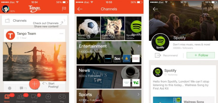 tango channels 730x346 Tango brings content channels to its chat app, but isnt planning payments or commerce yet