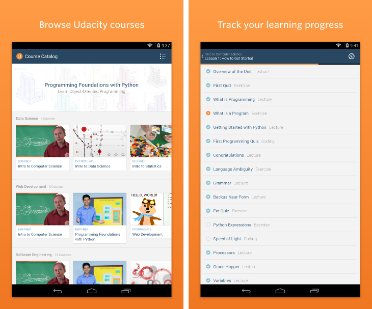 udacity2 Online learning platform Udacity launches an Android app and four new Google supported courses