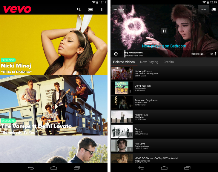 vevo1 32 of the best apps for Googles Chromecast