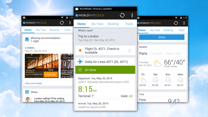 worldmate 730x410 WorldMate refreshes its Android travel app with a contextual homescreen and flight check ins