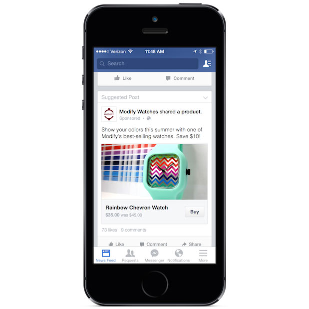 10173491 295448507303390 1386082327 n Facebook starts testing Buy button on News Feed ads and Page posts, currently limited to select US businesses