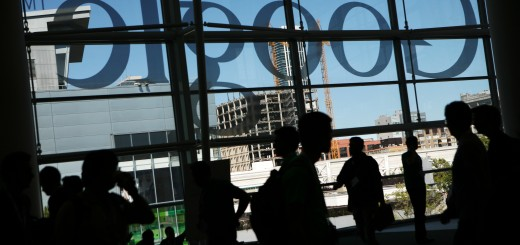 A Google logo is seen through windows of
