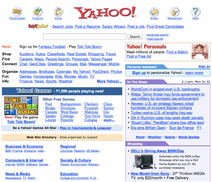 2002 yahoo 730x626 Websites through the ages: Tracking AOL, Yahoo and ESPN across time