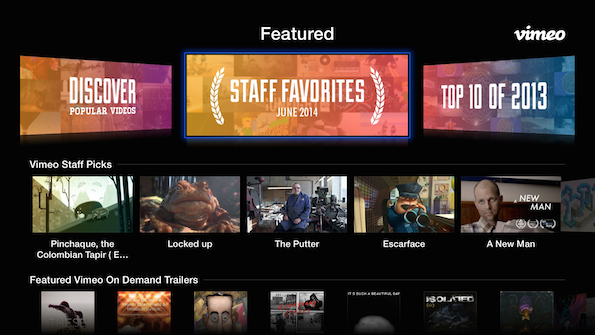 AppleTV 1 Vimeo for Apple TV updated with simplified navigation, Vimeo On Demand, content filter, and more