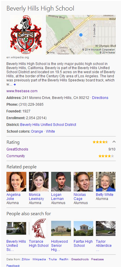 Bing School Rating Good news for parents: Microsofts Bing now lets you see how a school ranks nationally in the US