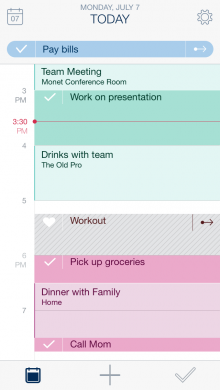 Calendar with Suggestion 1 220x390 Timeful for iPhone uses behavioral science to make your calendar and to do list smart