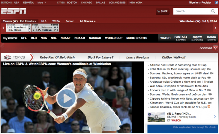 ESPN 2014 730x449 Websites through the ages: Tracking AOL, Yahoo and ESPN across time