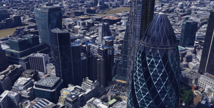 Gherkin 01 730x370 Google Maps and Google Earth now offer detailed 3D imagery of London