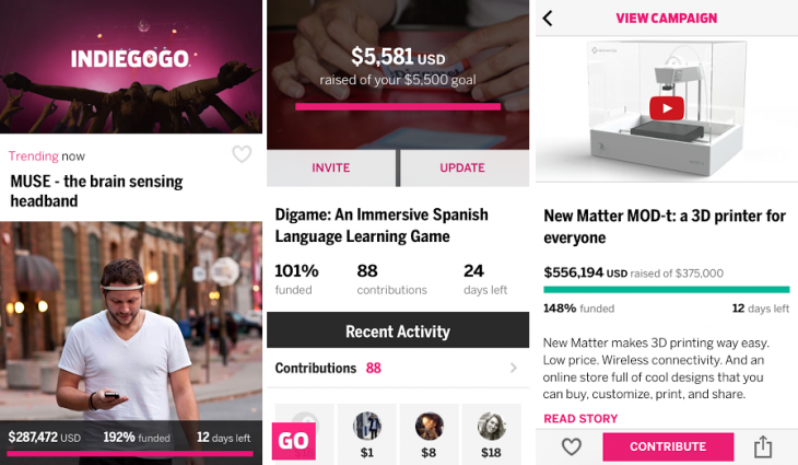 IGG IOS 730x425 Indiegogo launches its first ever native mobile app, but only for iPhone users in Canada