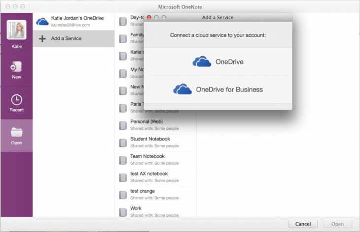 Mac OneDrive for Business 1024x663 730x472 Microsofts OneNote for Mac and iOS apps now let you insert Office docs, reorganize notes, and more