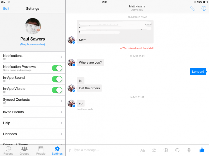 Photo 03 07 2014 16 41 32 730x547 Facebook Messenger is now optimized for iPad