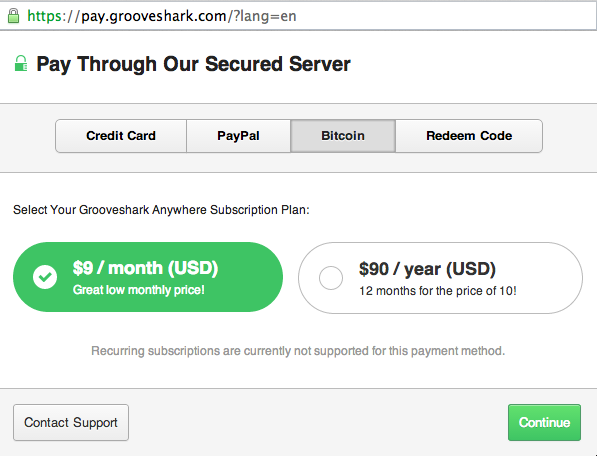 Screen Shot 2014 07 15 at 5.05.54 pm Grooveshark now lets you pay for its music streaming service with Bitcoin