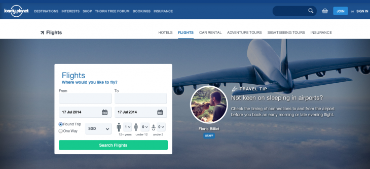 Screen Shot 2014 07 17 at 1.16.54 pm 730x333 Travel site Lonely Planet introduces its own flight search engine powered by Skyscanner