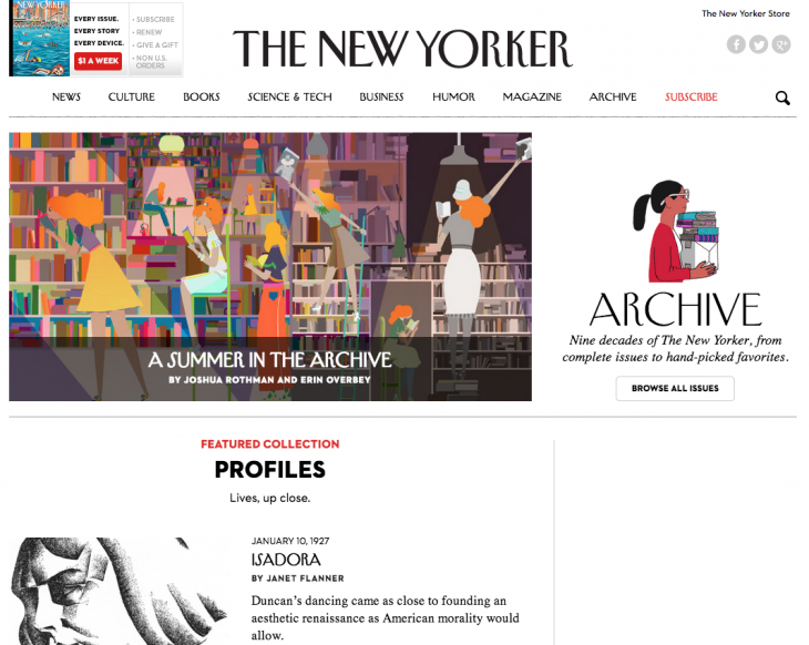 Screen Shot 2014 07 21 at 14.30.12 730x582 The New Yorker opens its online archive to non subscribers ahead of a new, metered paywall this fall