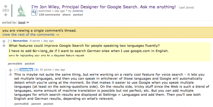 Screen Shot 2014 07 25 at 16.30.41 730x369 Google is working on multiple language detection for Voice Search