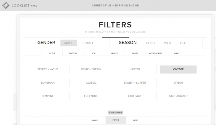 Screenshot 2014 07 09 11.53.30 730x423 Seeking fashion inspiration? Looklist trawls the Web so you dont have to