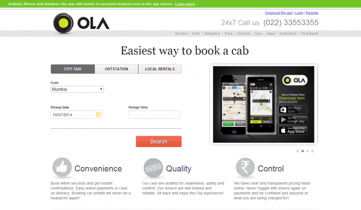 Screenshot 2014 07 10 18.11.21 730x424 Taking on Uber in India: How Ola Cabs is thinking local to battle a giant