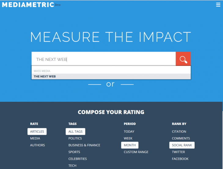 Screenshot 2014 07 22 11.49.36 730x553 Mediametric is a handy tool for writers and publishers to measure reach and online influence