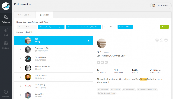 Screenshot 2014 07 30 21.34.55 730x418 SocialRank now lets you analyze your Twitter followers based on location and keywords