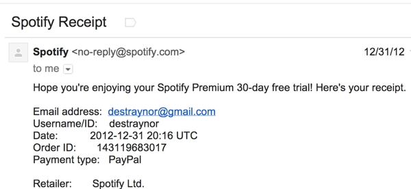 Spotify receipt 600 Effective Web messaging: How to say the right thing at the right time