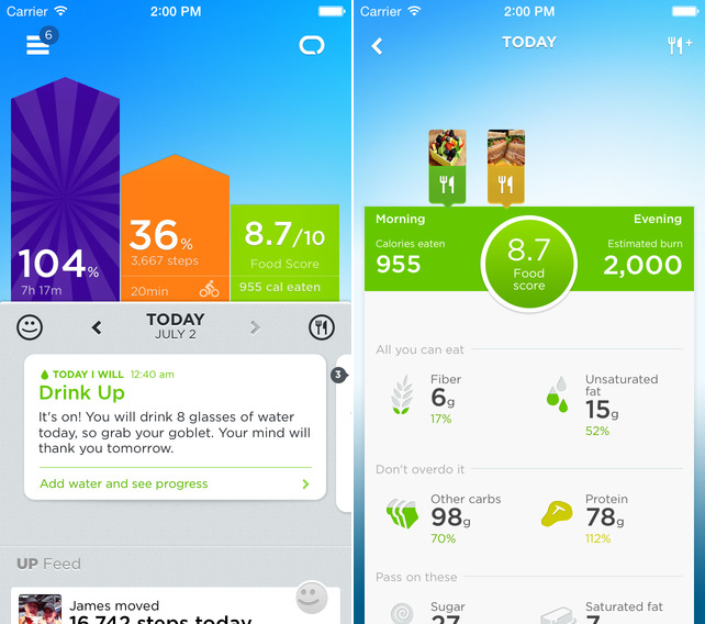 UP iOS Jawbones UP app for iOS now offers better food logging tools and a simple food score
