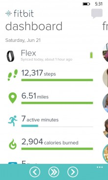 WPDashboard 220x366 Fitbit finally comes to Windows Phone, with live stats and real time Bluetooth syncing