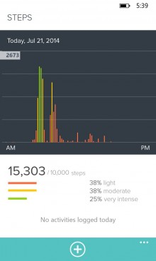 WPStepsDayView 220x366 Fitbit finally comes to Windows Phone, with live stats and real time Bluetooth syncing