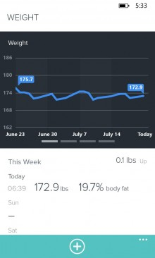 WPWeight 220x366 Fitbit finally comes to Windows Phone, with live stats and real time Bluetooth syncing