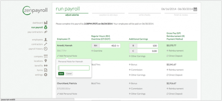 Zenpayroll Personalnote 730x332 ZenPayroll now lets employers add a personal touch to payslips