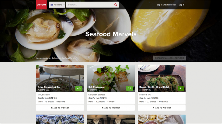 Zomato Collections 2 730x408 Restaurant guide Zomato boosts global plans with its first ever acquisition, in talks for two more