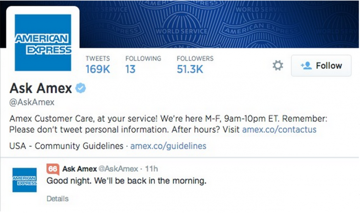 amex sign off tweet 730x433 5 strategies behind awesome customer service on social media